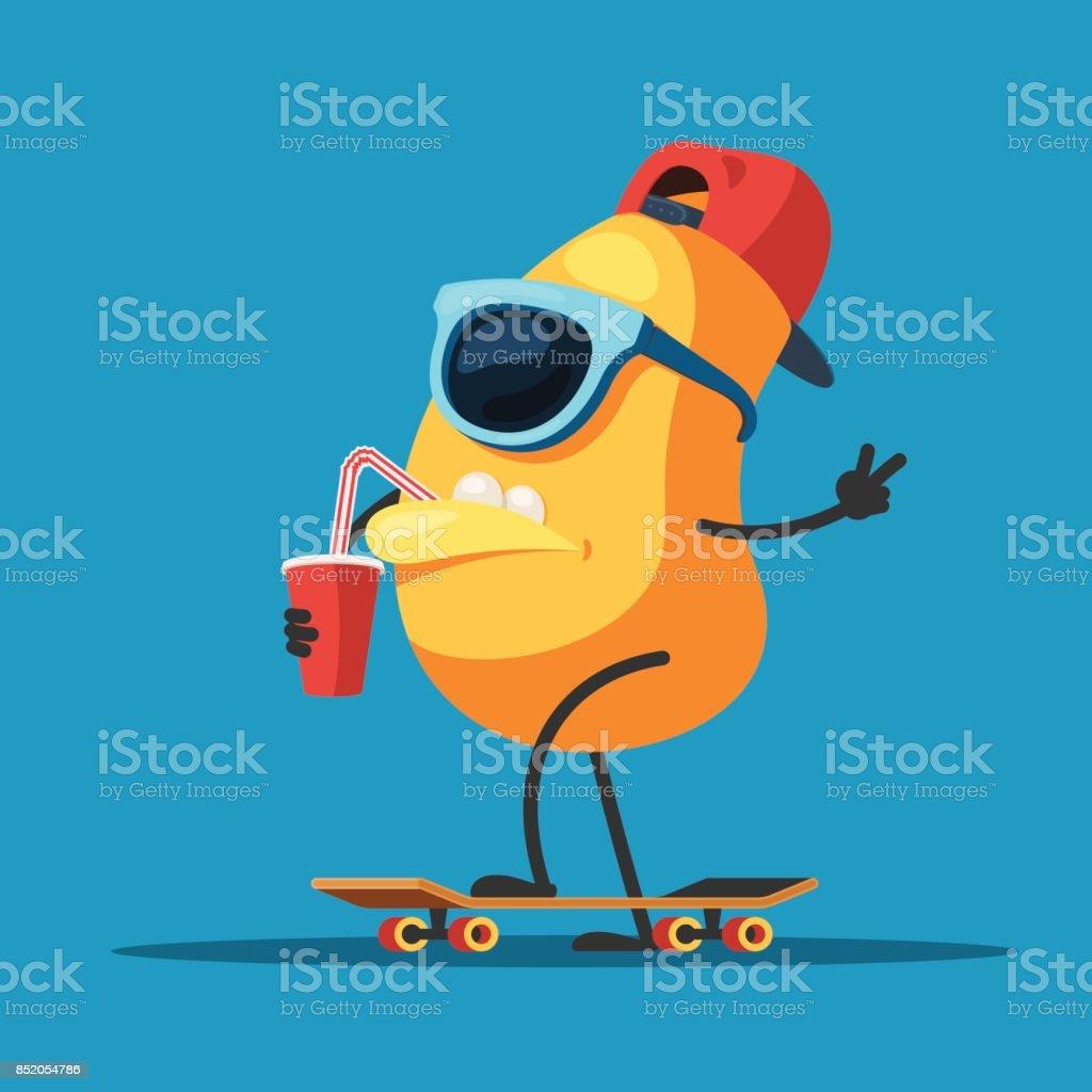 スケート ボード上で文字のモンスター ベクターアートイラスト