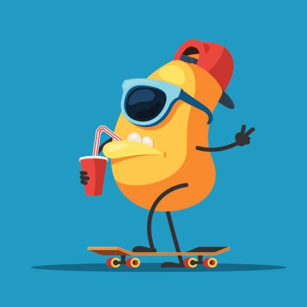 スケート ボード上で文字のモンスター - 漫画のモンスター点のイラスト素材/クリップアート素材/マンガ素材/アイコン素材
