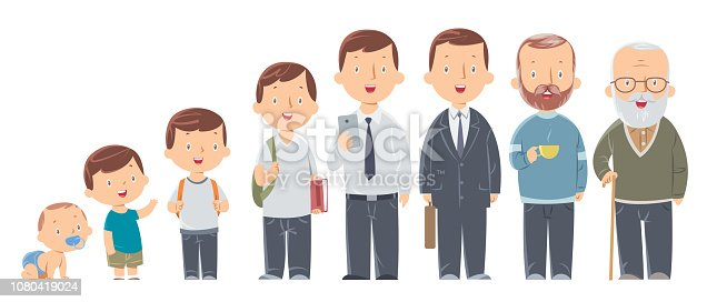 istock Character of a man in different ages. The life cycle. A baby, a child, a teenager, an adult, an elderly person. 1080419024