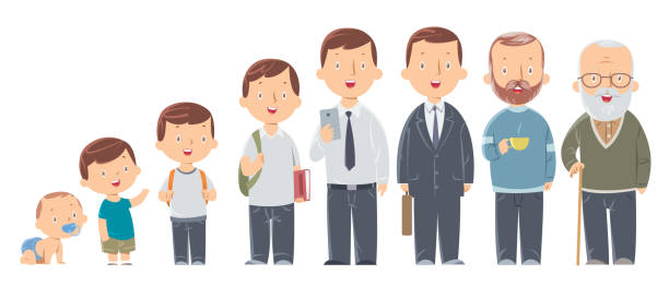 Character of a man in different ages. The life cycle. A baby, a child, a teenager, an adult, an elderly person. Vector Character of a man in different ages. The life cycle. A baby, a child, a teenager, an adult, an elderly person. baby human age stock illustrations
