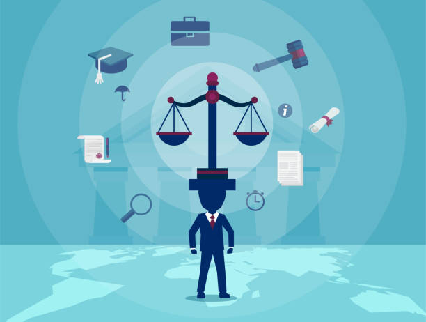 Character of lawyer keeping balance of justice Concept vector illustration of judge with scale taking care of justice judgement. supreme court stock illustrations
