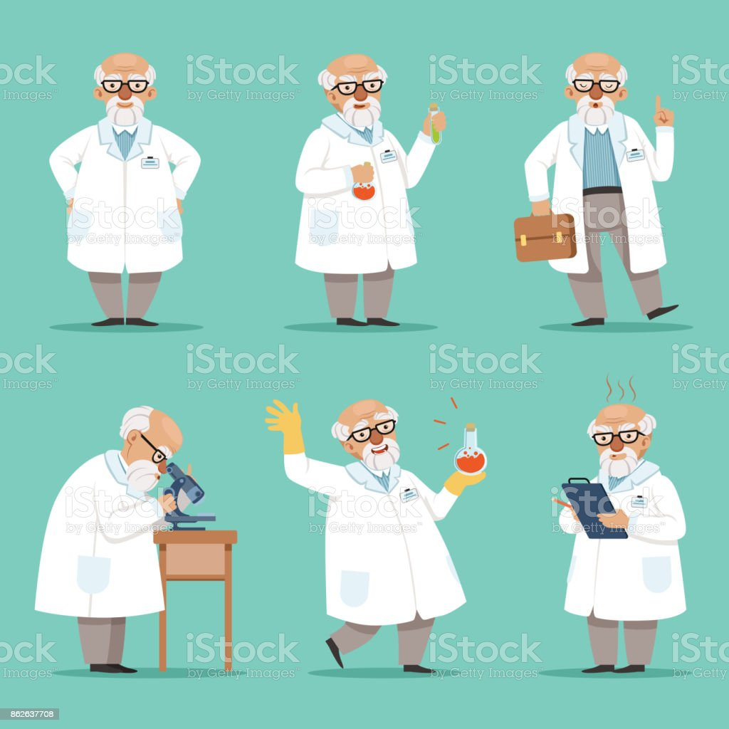 Character of old scientist or chemist. Mascot design of crazy professor. Male teacher. Vector pictures set