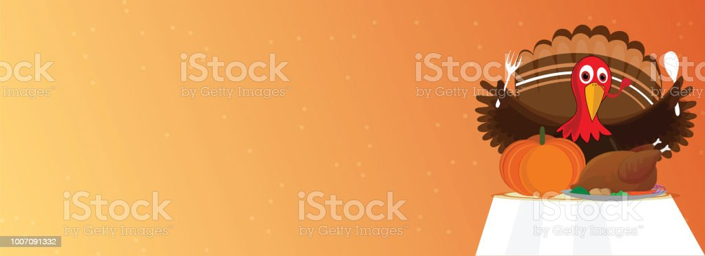 Character of turkey bird holding spoon and fork with food elements and chicken on table, blank header or banner design. vector art illustration