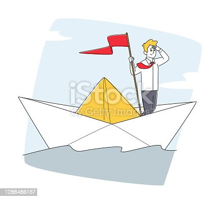 istock Character on Sail Boat in Ocean. Business Man with Red Flag Sailing Paper Ship in Sea Looking in Far, Planning Strategy 1288486157