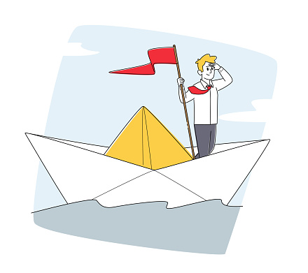 Character on Sail Boat in Ocean. Business Man with Red Flag Sailing Paper Ship in Sea Looking in Far, Planning Strategy