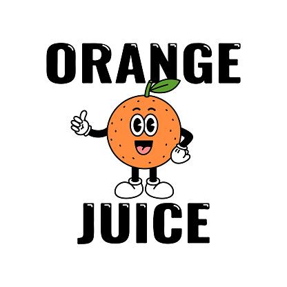 Character Orange isolated on a white background with sign: Orange Juice.
