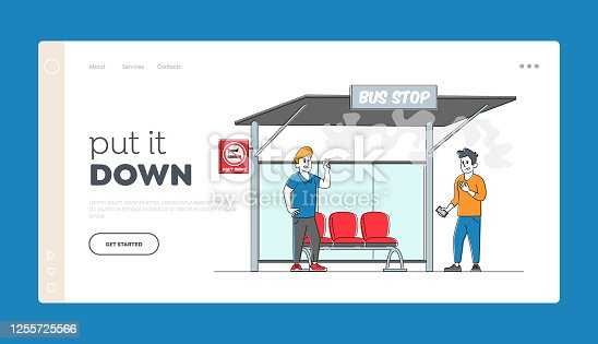 istock Character Passive Second Hand Smoking in Public Place, Bad Habit Landing Page Template. Man Suffer of Smoke at Prohibited Sign Man Smoker with Cigarette on Bus Stop. Linear People Vector Illustration 1255725566