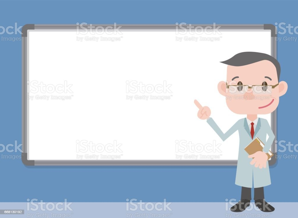 character pointing whiteboard, doctor or professor wearing white coat, vector illustration vector art illustration