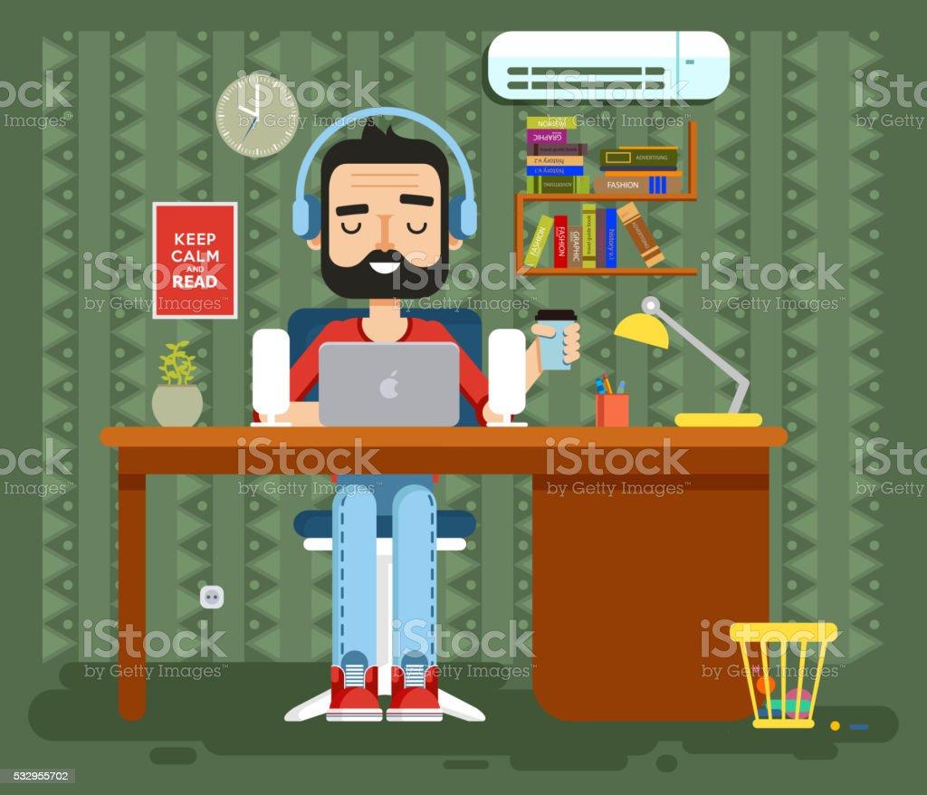 character programmer, copywriter, gamer, freelancer, designer, man in headphones with vector art illustration
