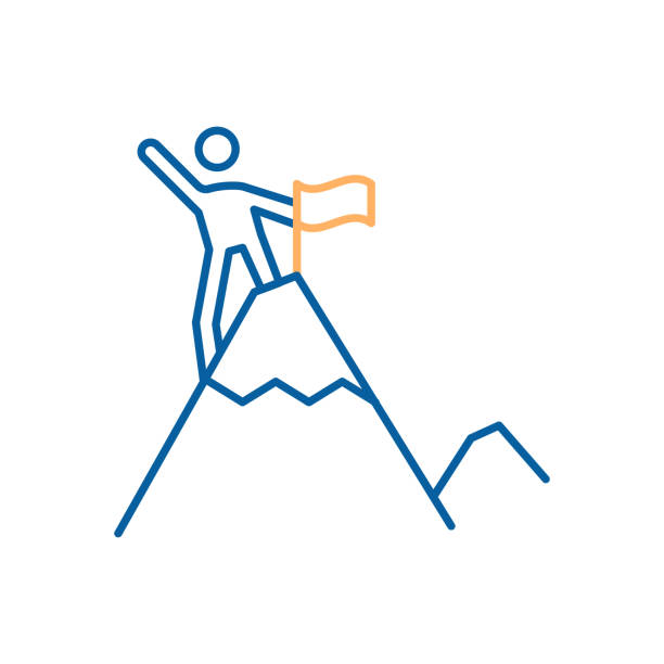 ilustrações, clipart, desenhos animados e ícones de personagem, atingindo o topo da montanha e furando uma bandeira. design moderno de ícone de linha fina - explorador