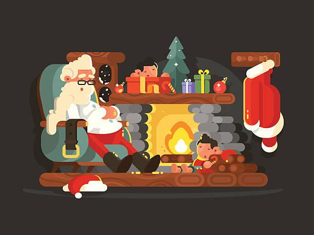 character santa claus on chair near fireplace - kaminverkleidungen stock-grafiken, -clipart, -cartoons und -symbole