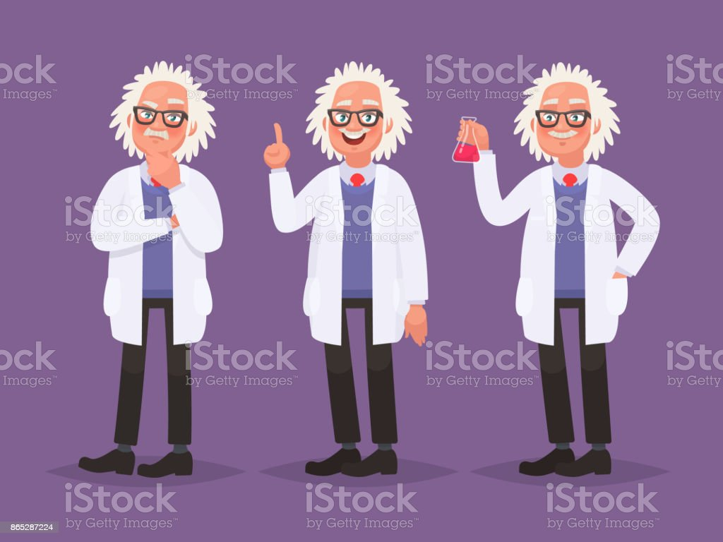 Character set of a scientist. Discovery in science. Vector illustration in cartoon style