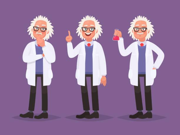 zeichensatz eines wissenschaftlers. entdeckungen in der wissenschaft. vektor-illustration im cartoon-stil - wissenschaftsberuf stock-grafiken, -clipart, -cartoons und -symbole