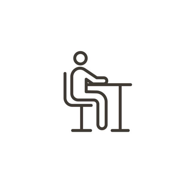 Character sitting at a table icon. Trendy modern outline illustration. Different sitting concepts like school classroom, studying, lunch or dinner time, reading, waiting etc Vector eps10 children only stock illustrations
