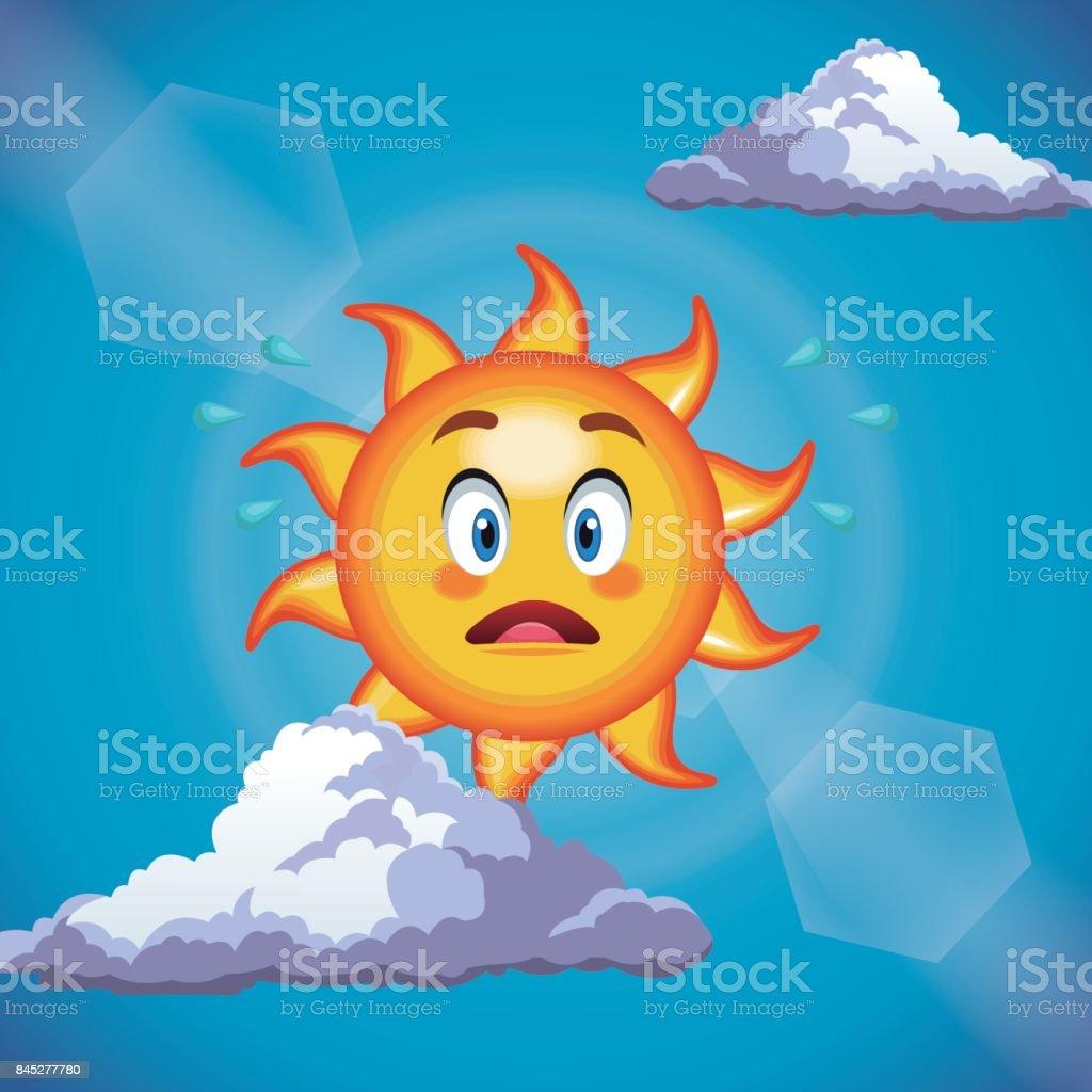 character sun surprise cute face - cartoon in the blue sky character sun surprise cute face - cartoon in the blue sky vector illustration Blue stock vector