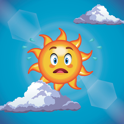 Character Sun Surprise Cute Face Cartoon In The Blue Sky Stock Illustration - Download Image Now