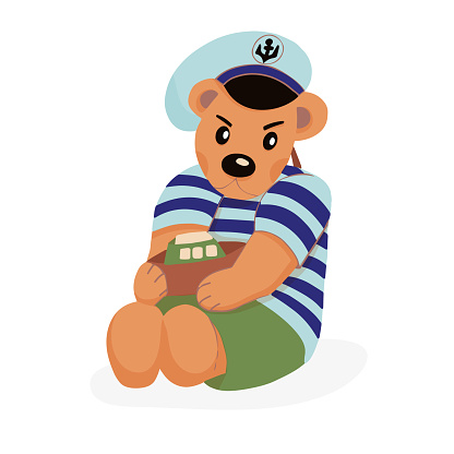 Character Teddy Bear in a striped sea turtleneck and cap with an anchor. In the hands of the toy boat. Cute animal. Vector cartoon illustration