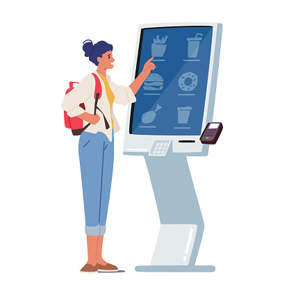 Character Use Self Ordering Food Service in Restaurant or Fastfood Cafe. Woman Choose Meals on Digital Device Screen