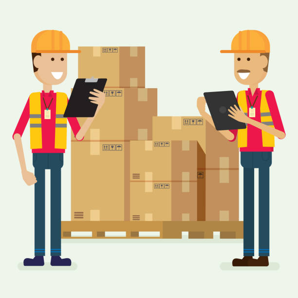 stockillustraties, clipart, cartoons en iconen met teken de magazijnmedewerker controleren van goederen. illustratie vector - warehouse worker