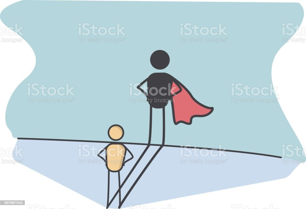 Character with a super hero shadow representing success in life, preserverance, courage, promotion at work.