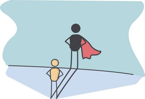 character with a super hero shadow representing success in life, preserverance, courage, promotion at work. - autorytet stock illustrations