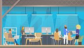 Character Work, Study in Modern Coworking Area. Smiling Young Freelancer Working by Laptop in Creative Open Space or Modern Shared Workplace. Studio for Coworker. Flat Cartoon Vector Illustration