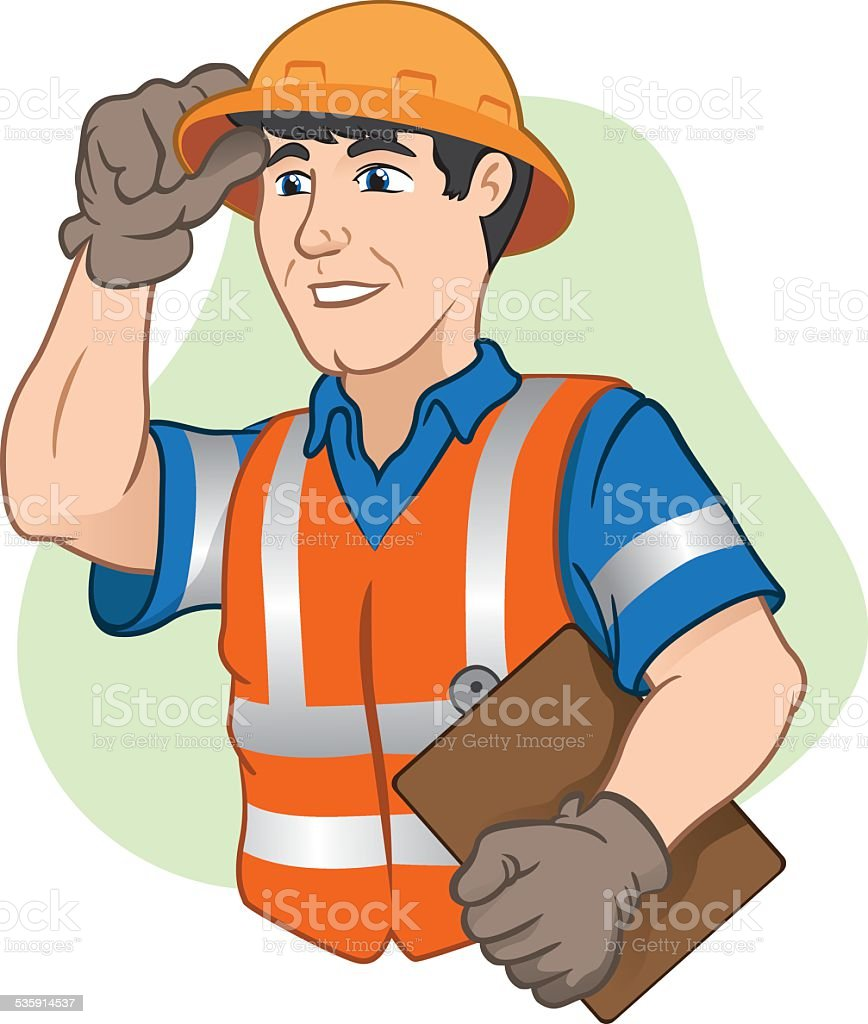 Character workers with safety equipment at work vector art illustration