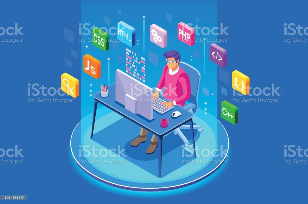 Device with character concept. Program developer creating website...