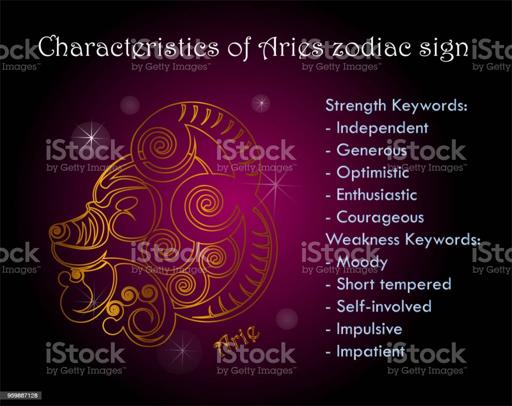 characteristics of aries zodiac sign stock vector art more images