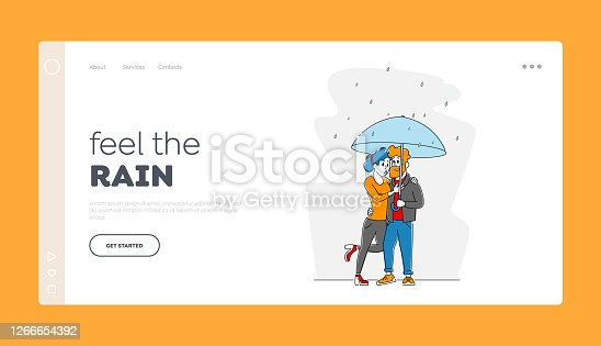 istock Characters at Rain Landing Page Template. Happy Loving Couple Hugging Walking in Rainy Autumn Weather under Umbrella 1266654392