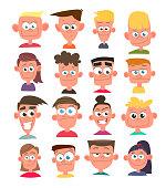 Characters avatars in cartoon flat style. Vector.
