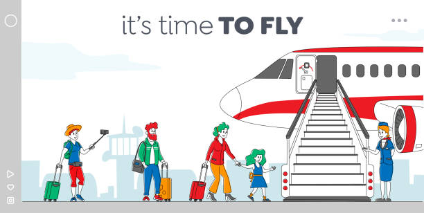stockillustraties, clipart, cartoons en iconen met tekens die instappen op de sjabloon voor vliegtuiglandingspagina. mensen staan in de rij op vliegtuig op de luchthaven. passagiers en stewardess staan bij jet ladder aan boord voor vliegreizen. lineaire vectorillustratie - stewardess