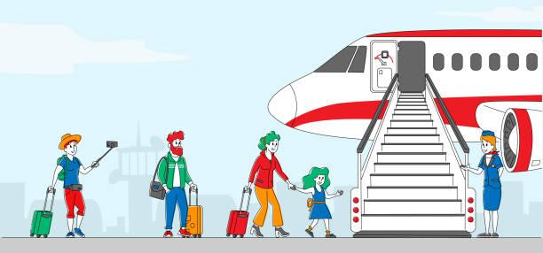stockillustraties, clipart, cartoons en iconen met personages die instappen in het vliegtuig. mensen staan in de rij op vliegtuig op de luchthaven. reizigers naar vliegtuigen, passagiers en stewardess staan bij jet ladder aan boord voor reizen. lineaire vectorillustratie - stewardess