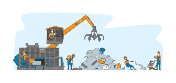 ilustraciones, imágenes clip art, dibujos animados e iconos de stock de personajes traen y reciclan cosas y técnicas de metales antiguos en junkyard. industria de reciclaje de chatarra, reutilización de basura - social media