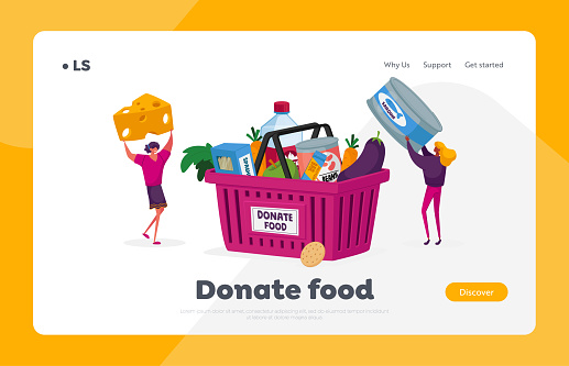 Characters Bringing Foodstuffs for Collecting Donation Box Landing Page Template. Volunteers Prepare Food to Poor. People Holding Canned Food Jar and Cheese. Cartoon People Vector Illustration