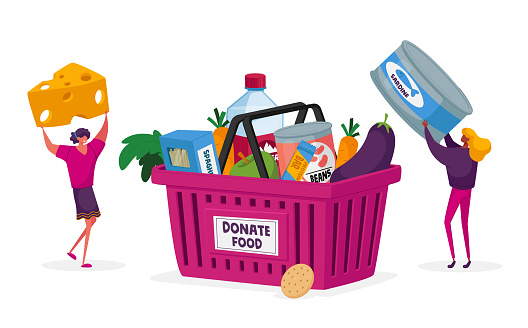 Characters Bringing Foodstuffs for Collecting Donation Box. Volunteers Prepare Food to Poor People. Man and Woman Holding Canned Food Jar and Cheese Poverty, Volunteering. Cartoon Vector Illustration