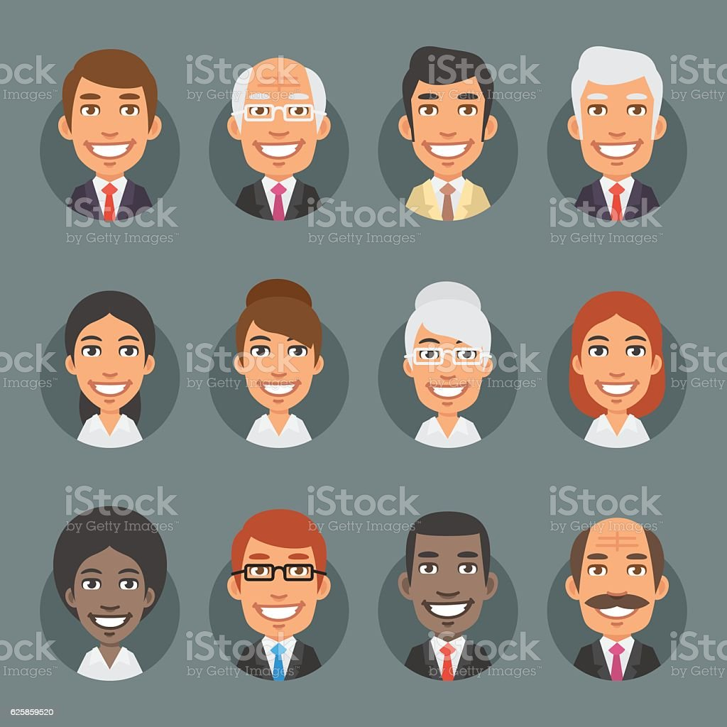 Characters Business People in Circle vector art illustration