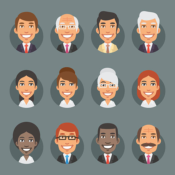 characters business people in circle - karikatur stock-grafiken, -clipart, -cartoons und -symbole