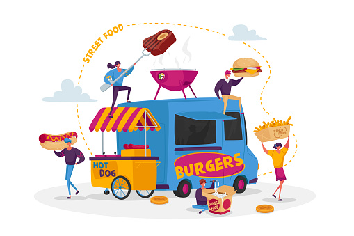 Characters Buying Street Food Concept. Tiny People with Huge Fastfood Burger, Hot Dog with Mustard, Noodles Junk Meals