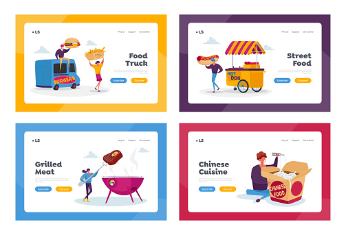 Characters Buying Street Food Landing Page Template Set. Tiny People with Huge Fastfood Burger, Hot Dog, from Food Truck