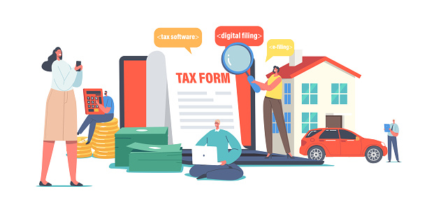 Characters Calculate Online Tax Payment. Tiny People Filling Huge Application for Tax Form. Online Taxation Software