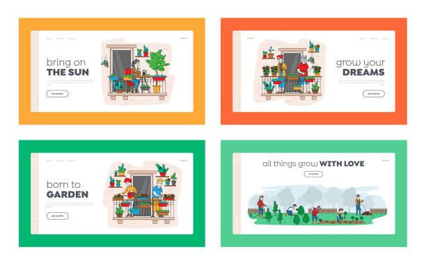 발코니 정원 방문 페이지 템플릿 세트에서 홈 식물의 문자 관리. 야외에서 토마토를 수확하는 노인들 - 잘 익은 stock illustrations