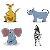 Characters carnivores vector. Kangaroos and rhino, zebra and elephant illustration