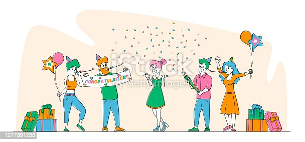 Characters Celebrate Surprise Birthday Party. Group of Cheerful Friends in Festive Hats Playing Pipes with Balloons and Confetti Make Surprising Event for Girl. Linear People Vector Illustration