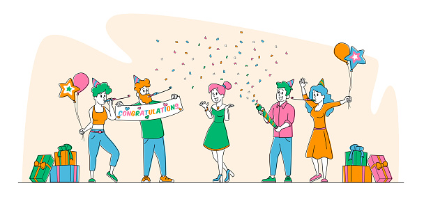 Characters Celebrate Surprise Birthday Party. Cheerful Friends in Festive Hats Playing Pipes with Balloons and Confetti