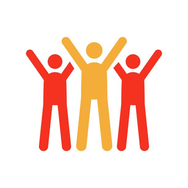 stockillustraties, clipart, cartoons en iconen met tekens vieren. vector trendy platte glyph pictogram afbeelding ontwerp. teamwork succes, partnerschap bedrijfsstrategie, liefdadigheid vrijwilligers. - cheering