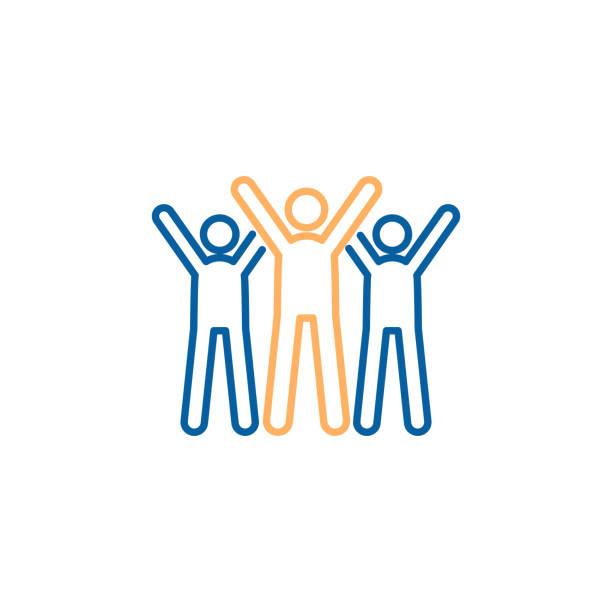 stockillustraties, clipart, cartoons en iconen met tekens vieren. vector trendy dunne lijn pictogram afbeelding ontwerp. teamwork succes, partnerschap bedrijfsstrategie, liefdadigheid vrijwilligers. - cheering