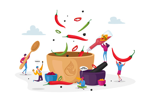Characters Cook Food with Hot Chili. Tiny Characters Put Red and Black Chilli Pepper to Huge Sauce Pan Making Spicy Dish