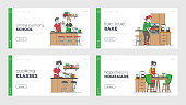 Characters Cooking Landing Page Template Set. Senior Woman Kneading Dough, Couple Prepare Dinner on Kitchen, Girl Cutting Vegetables for Salad. People Prepare Food at Home. Linear Vector Illustration