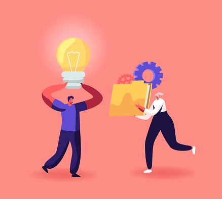 Characters Creative Idea, Portfolio, Cooperation, Partnership and Office Work Concept. Businesspeople with Light Bulb